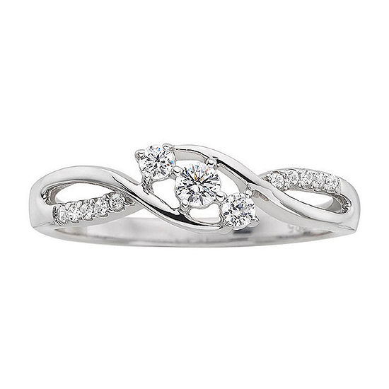 Love Lives Forever 1/3CT. T.W. Diamond 10K White Gold 3-Stone Promise Ring