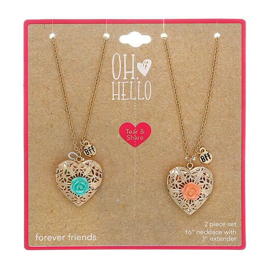 Oh Hello 2-pc. 16 Inch Cable Heart Locket Necklace