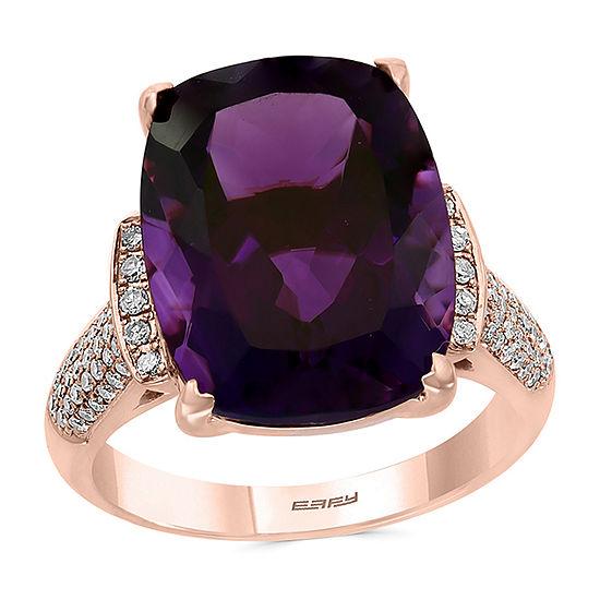 Effy Womens 1/4 CT. T.W. Genuine Purple Amethyst 14K Rose Gold Cocktail Ring