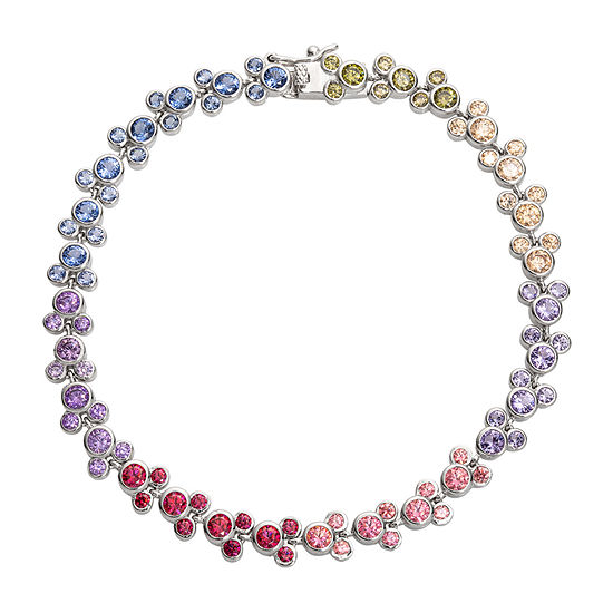 Disney Collection Diamonart Rainbow White Cubic Zirconia Sterling Silver Mickey Mouse 7.25 Inch Tennis Bracelet