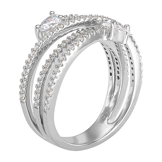 Diamonart Womens White Cubic Zirconia Sterling Silver Bypass  Cocktail Ring