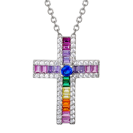 Diamonart Rainbow Womens Multi Color Cubic Zirconia Sterling Silver Cross Pendant Necklace