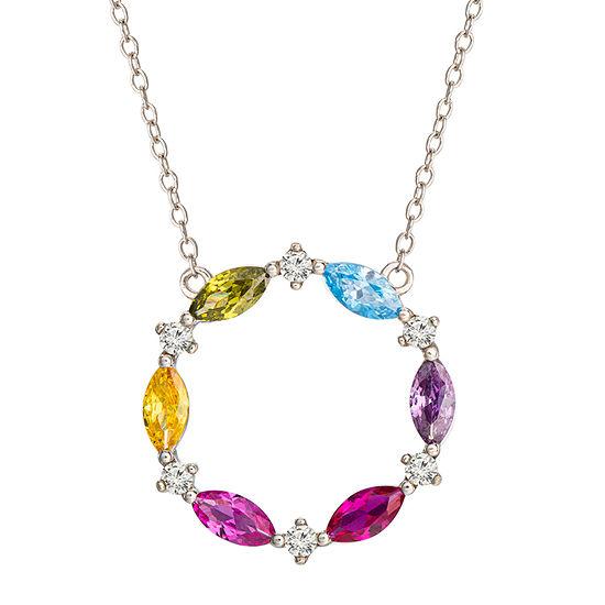 Diamonart Rainbow Womens Multi Color Cubic Zirconia Sterling Silver Round Pendant Necklace