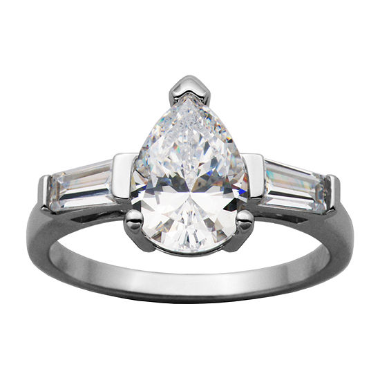 Diamonart Womens White Cubic Zirconia Sterling Silver Pear Engagement Ring