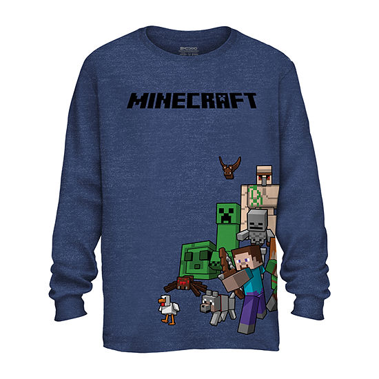 Boys Crew Neck Long Sleeve Minecraft Graphic T-Shirt - Preschool / Big Kid