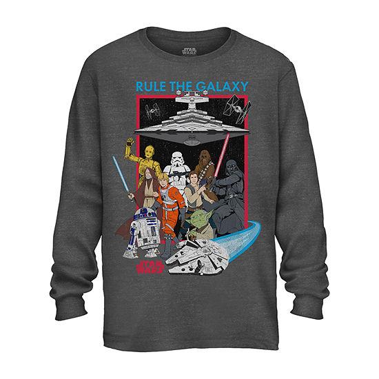 Boys Crew Neck Long Sleeve Star Wars Graphic T-Shirt - Preschool / Big Kid