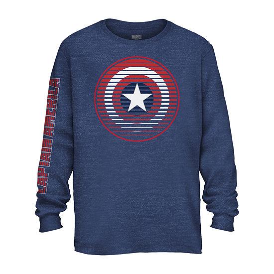 Boys Crew Neck Long Sleeve Captain America Graphic T-Shirt - Preschool / Big Kid
