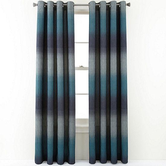 Liz Claiborne Dakota Two-Tone Lined Grommet-Top Curtain Panel