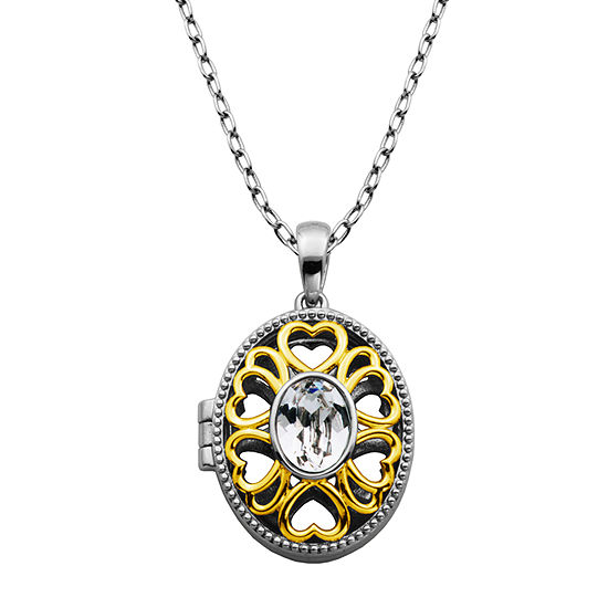 Sparkle Allure Made With Swarovski Womens 1 CT. T.W. White Crystal Bronze Pendant Necklace