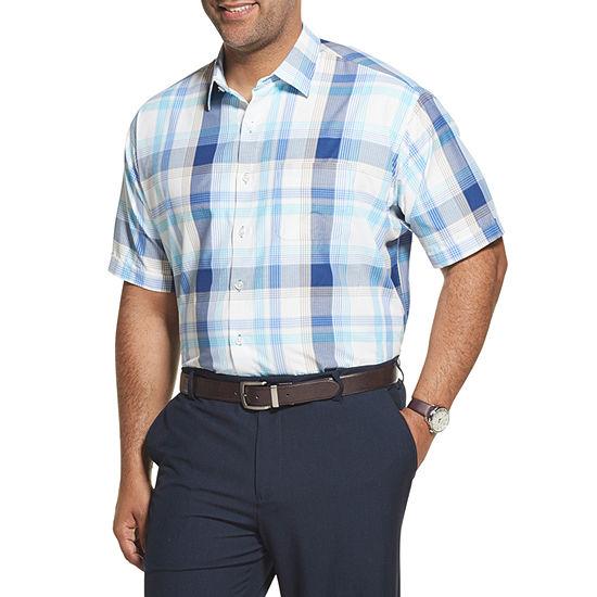Van Heusen Mens Short Sleeve Button Front Shirt Big And Tall