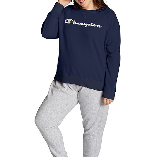 Champion Plus-Womens Crew Neck Long Sleeve T-Shirt