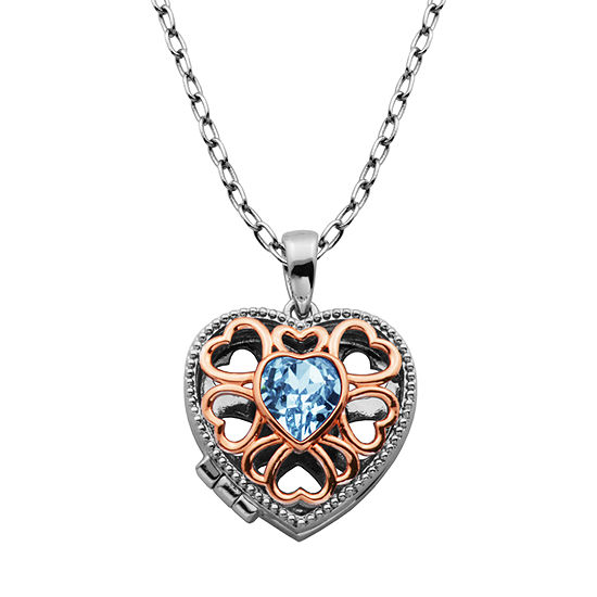 Sparkle Allure Made With Swarovski Womens 7/8 CT. T.W. Blue Crystal Bronze Pendant Necklace