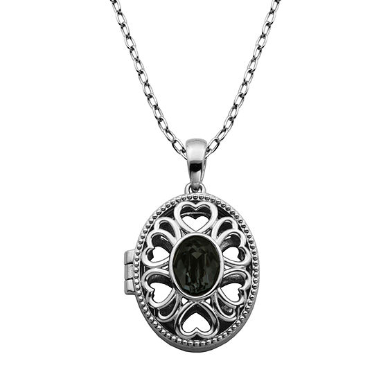 Sparkle Allure Made With Swarovski Black Crystal Bronze 18 Inch Cable Pendant Necklace