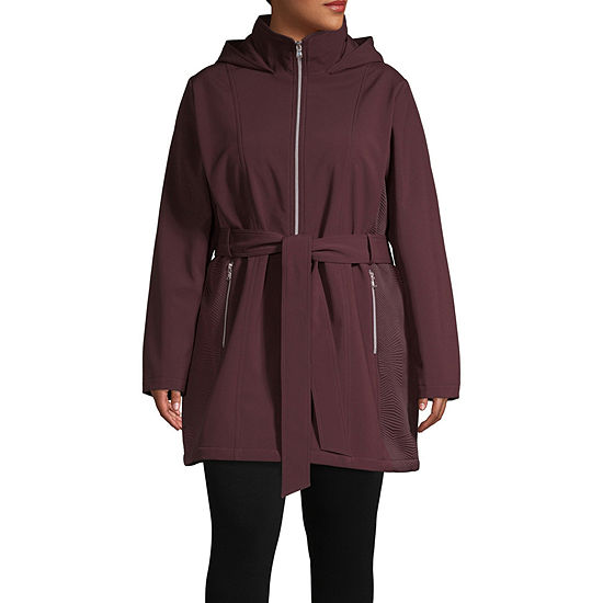 Liz Claiborne Hooded Belted Lightweight Trench Coat-Plus