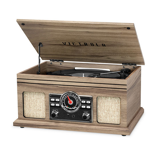 Victrola VTA-250B 4-in-1 Nostalgic Bluetooth Record Player with 3-Speed Record Turntable and FM Radio