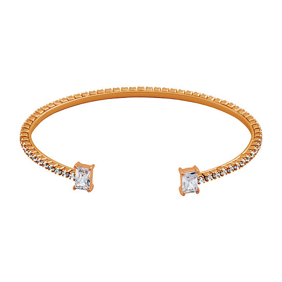 Sparkle Allure Cubic Zirconia Bronze Stainless Steel Cuff Bracelet