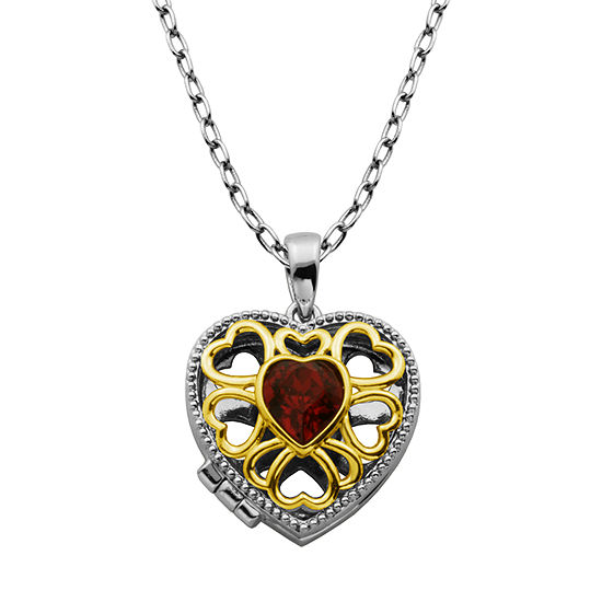 Sparkle Allure Made With Swarovski Red Crystal Bronze 18 Inch Cable Pendant Necklace