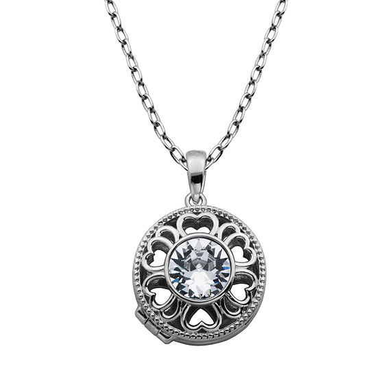 Sparkle Allure Made With Swarovski White Crystal Bronze 18 Inch Cable Pendant Necklace