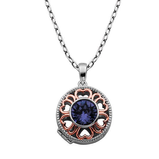 Sparkle Allure Made With Swarovski Purple Crystal Bronze 18 Inch Cable Pendant Necklace