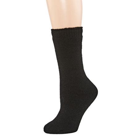 Heat Holders Originals 1 Pair Crew Socks Womens, 5-9 , Black