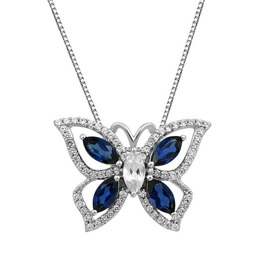 Womens Lab Created Blue Sapphire Sterling Silver Butterfly Pendant Necklace