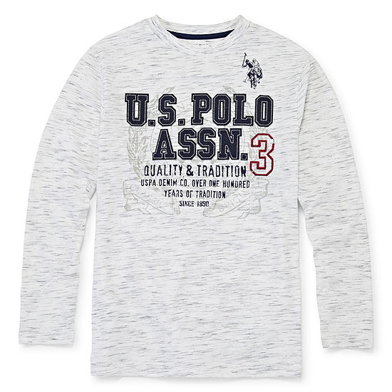 U.S. Polo Assn. Boys Crew Neck Long Sleeve T-Shirt-Big Kid