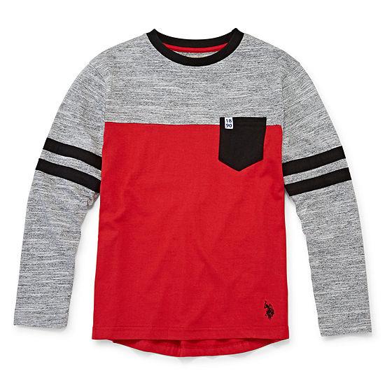 U.S. Polo Assn. Boys Crew Neck Long Sleeve T-Shirt-Big Kid
