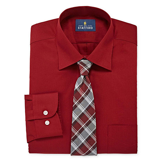 Stafford Men's Big and Tall Dress Shirt and Tie Set