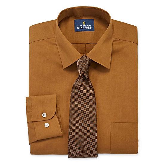 Stafford Men's Regular Fit Dress Shirt and Tie Set
