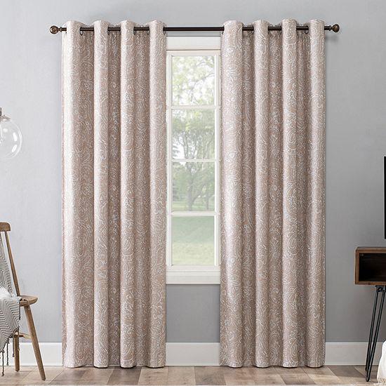 Sun Zero Strasser Paisley Printed Energy Saving 100% Blackout Grommet-Top Single Curtain Panel