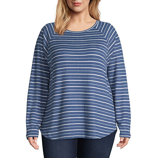 St. John's Bay Active Long Sleeve Round Hem Snit Tee - Plus