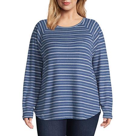 St. John's Bay Active Plus-Womens Round Neck Long Sleeve T-Shirt, 1x , Blue