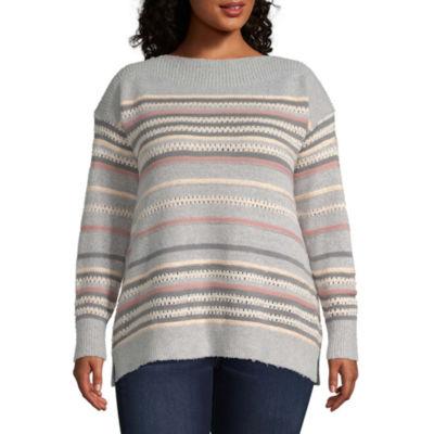 Liz Claiborne Sequin Stripe Pullover- Plus