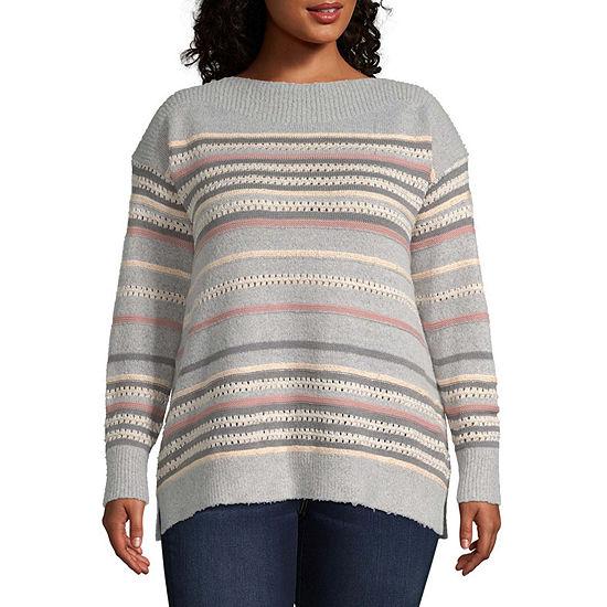 Liz Claiborne Long Sleeve Sequin Stripe Pullover Sweater - Plus