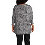 Liz Claiborne-Plus Womens Keyhole Neck 3/4 Sleeve Blouse