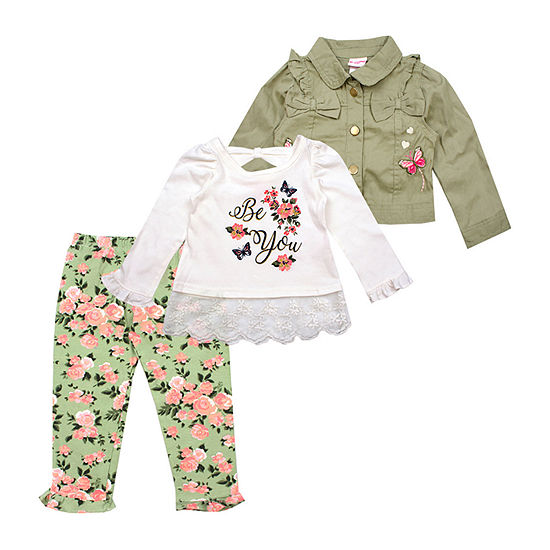 Nanette Baby Girls 3-pc. Legging Set-Toddler