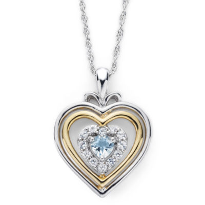 Aquamarine & Lab-Created White Sapphire Two-Tone Heart Pendant Necklace