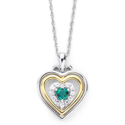 Lab-Created Emerald & White Sapphire Two-Tone Heart Pendant Necklace