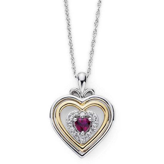 Lab-Created Ruby & White Sapphire Two-Tone Heart Pendant Necklace