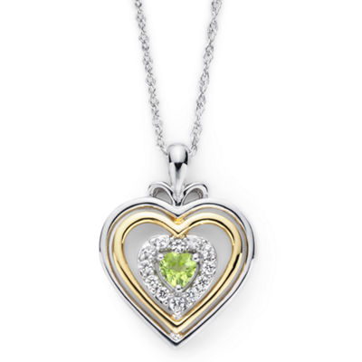 Peridot & Lab-Created White Sapphire Two-Tone Heart Necklace
