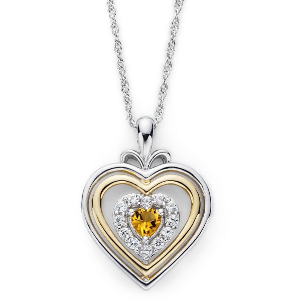 14k gold over silver genuine citrine heart penant citrine lab created white sapphire two tone heart pendant necklace mozeypictures Image collections