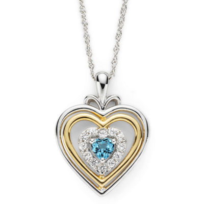 Swiss Blue Topaz & Lab-Created White Sapphire Two-Tone Heart Pendant Necklace
