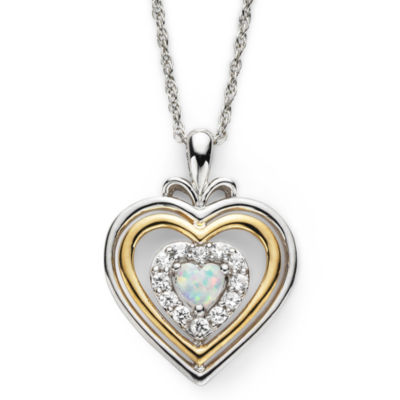 Lab-Created Opal & White Sapphire Two-Tone Heart Pendant Necklace