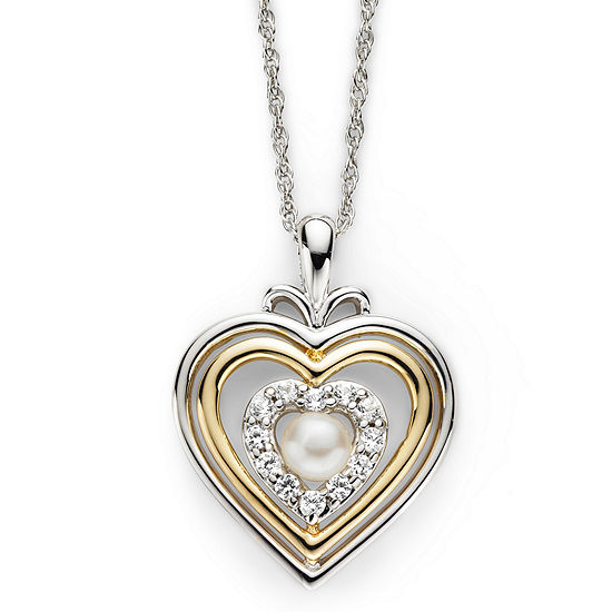 14k gold over silver pearl heart pendant cultured freshwater pearl lab created white sapphire heart pendant necklace aloadofball Image collections