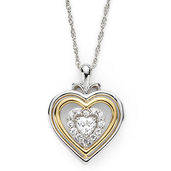 Lab Created White Sapphire Two Tone Heart Pendant Necklace