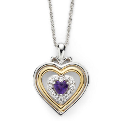 Genuine Amethyst and Lab-Created White Sapphire Two-Tone Heart Pendant Necklace