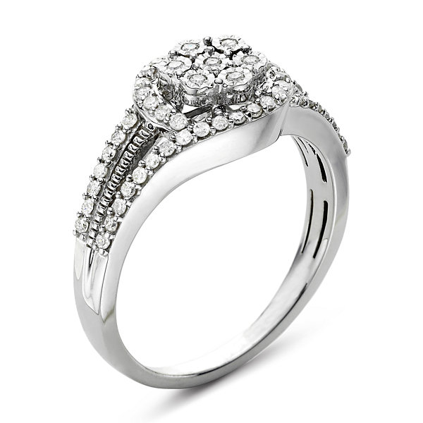 diamond blossom 1/3 CT. T.W. Diamond Cluster Sterling Silver Orbit Ring