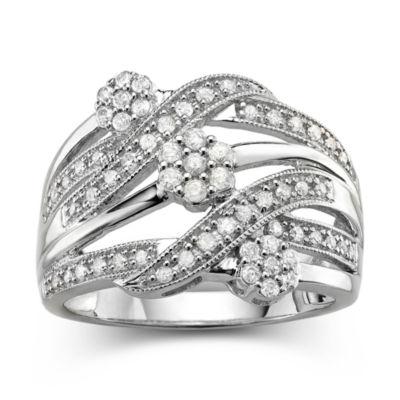 diamond blossom 1/2 CT. T.W. Diamond Cluster Sterling Silver Orbit Ring