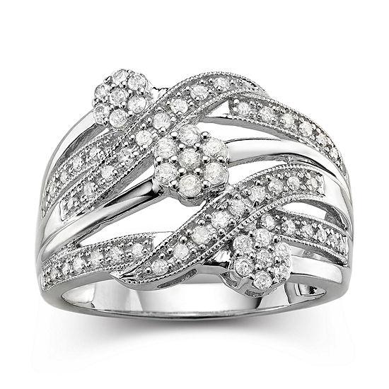 Diamond Blossom 1 2 Ct Tw Diamond Cluster Sterling Silver Orbit Ring