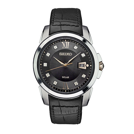 Seiko Mens Black Leather Strap Watch-Sne427